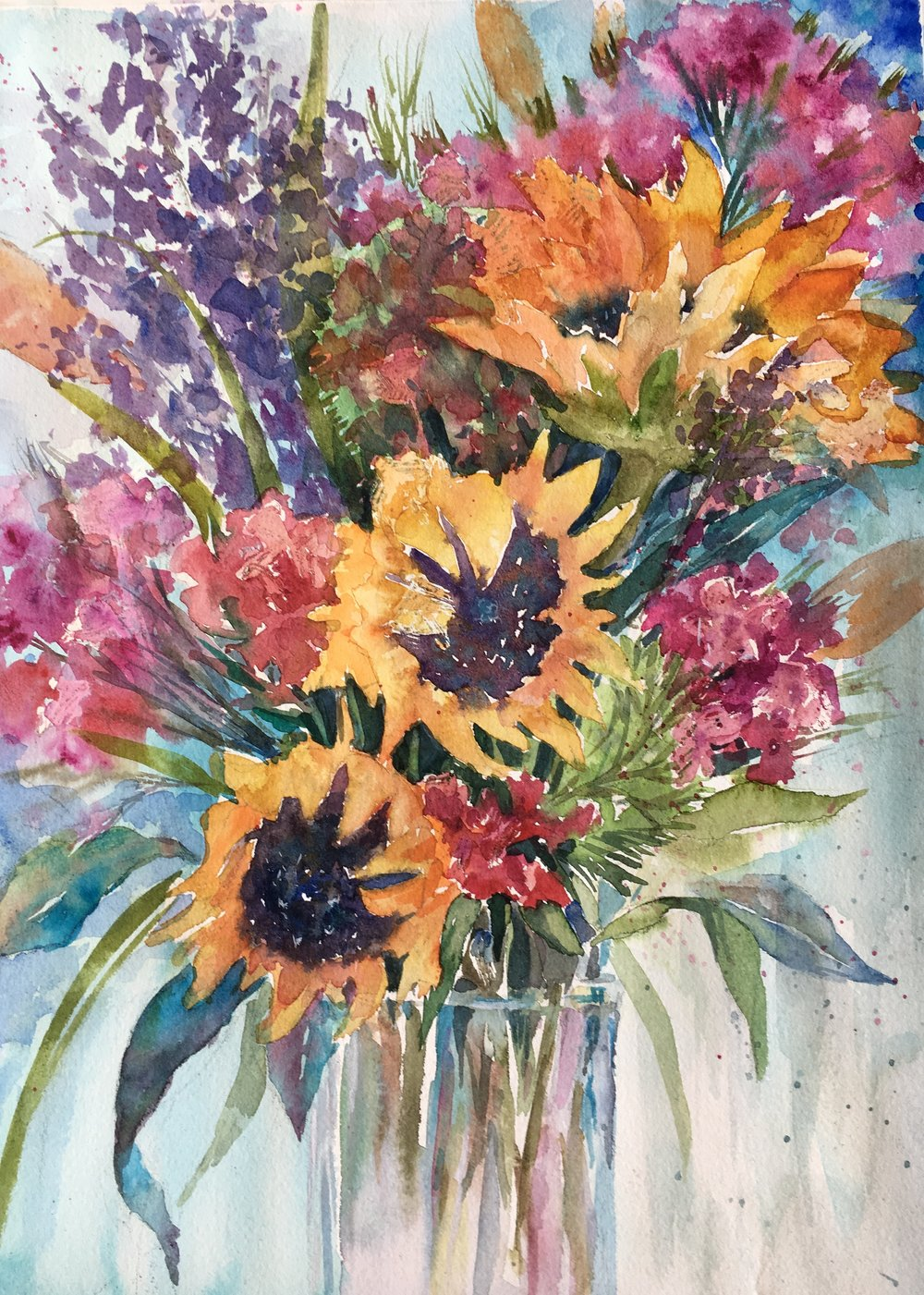 """Sunflower's joy"" 16x20, Watercolor on watercolor paper by Svetlana Howe"