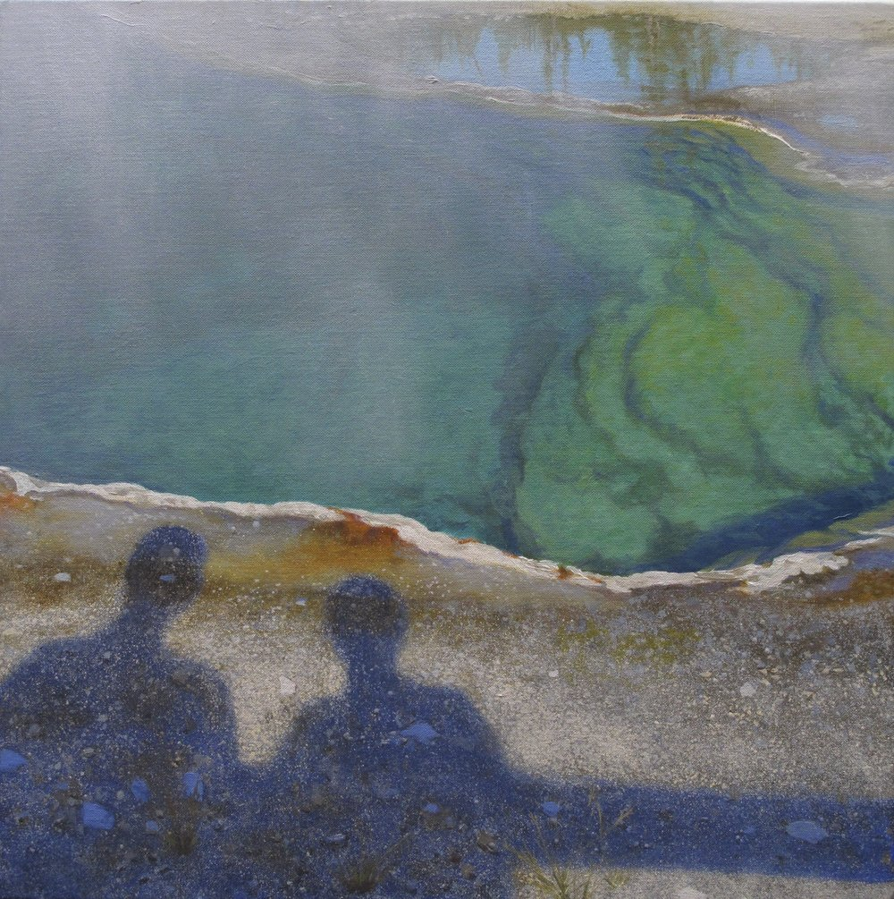 """Tourists at Abyss Pool"" original painting by Linda Lillegraven"