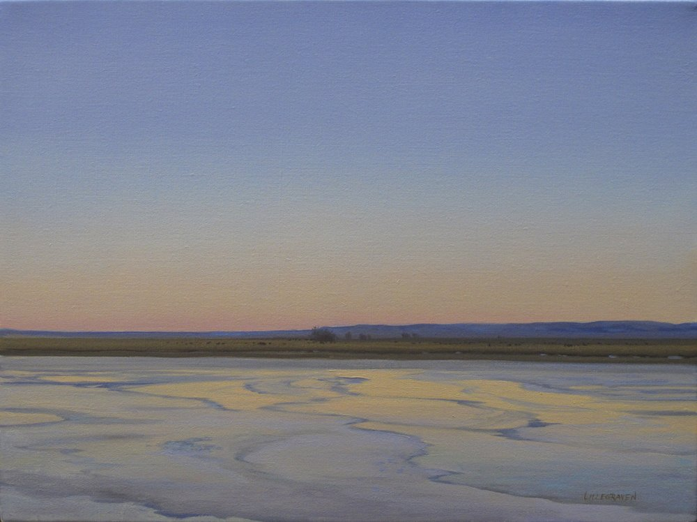 """Frozen Prairie Pond"" original painting by Linda Lillegraven"