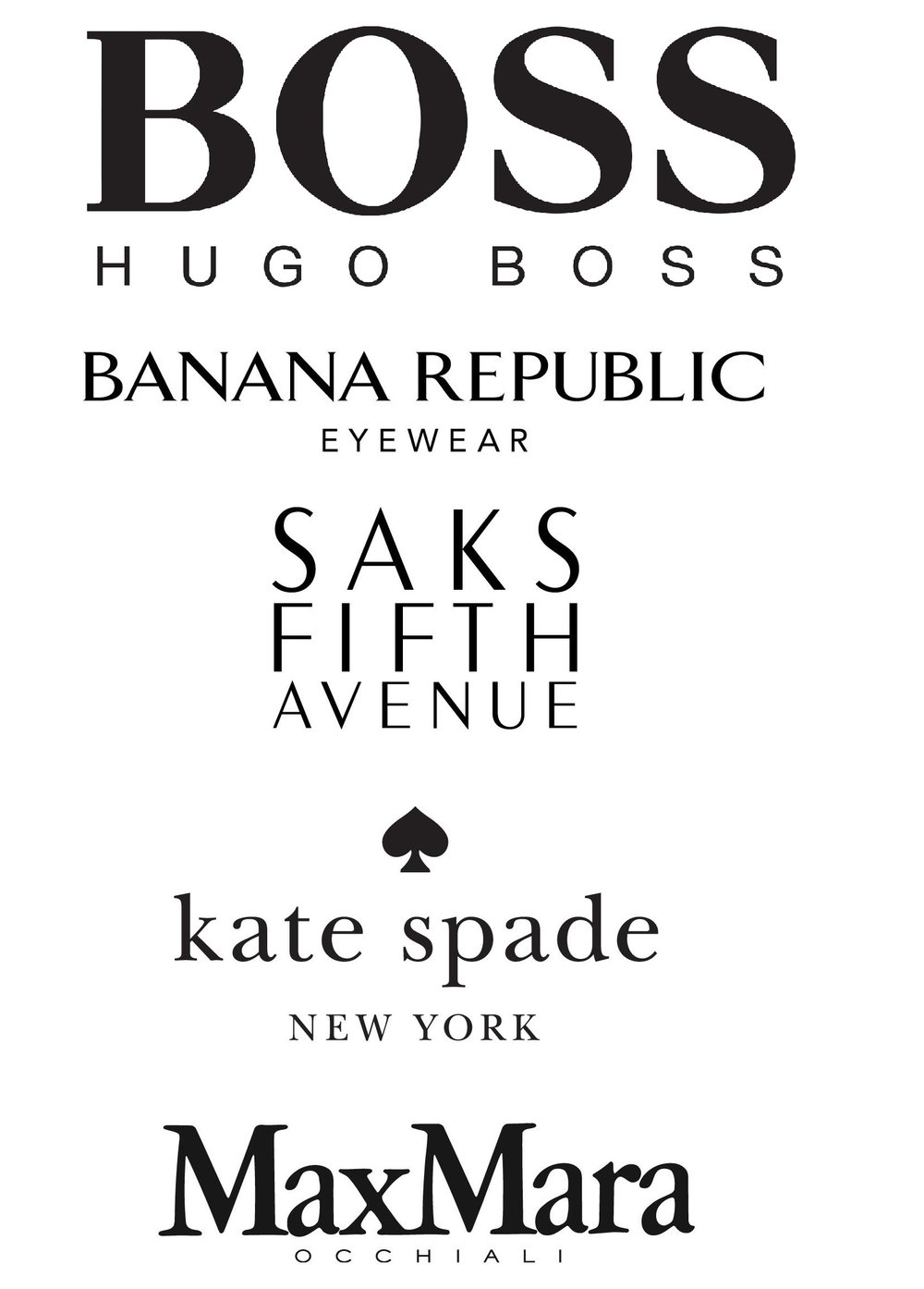 Hugo Boss, Banana Republic, Saks Fifth Avenue, Kate Spade, Max Mara