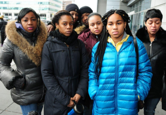 Leondra Foster's family outside the courthouse in Brooklyn, New York.