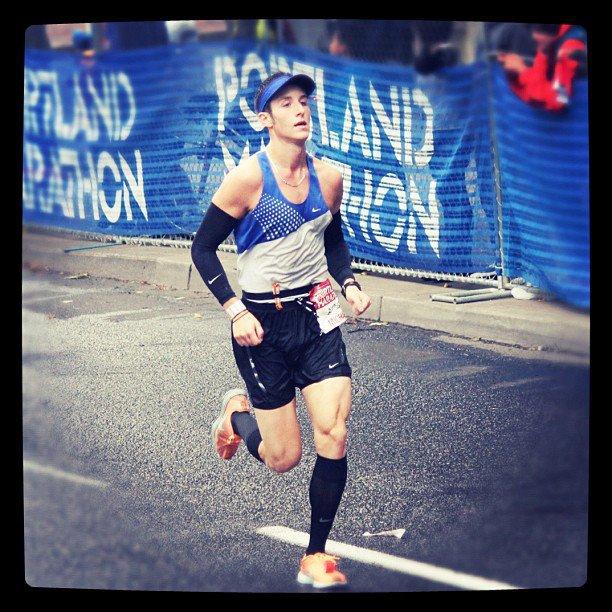 Finishing my first marathon, the Portland Marathon in 2011.