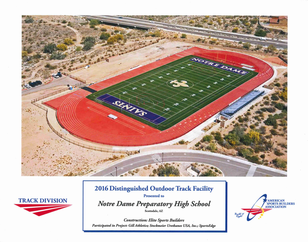 Notre Dame Elite Sports Builders Distinguished Track Facility Award 2016 ASBA