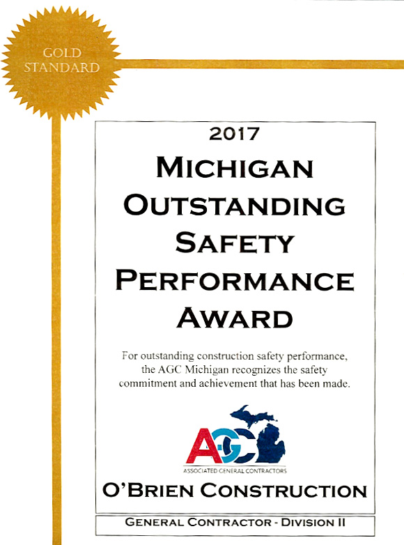 ASSOCIATED GENERAL CONTRACTORS OUTSTANDING SAFETY PERFORMANCE AWARD - since 1997