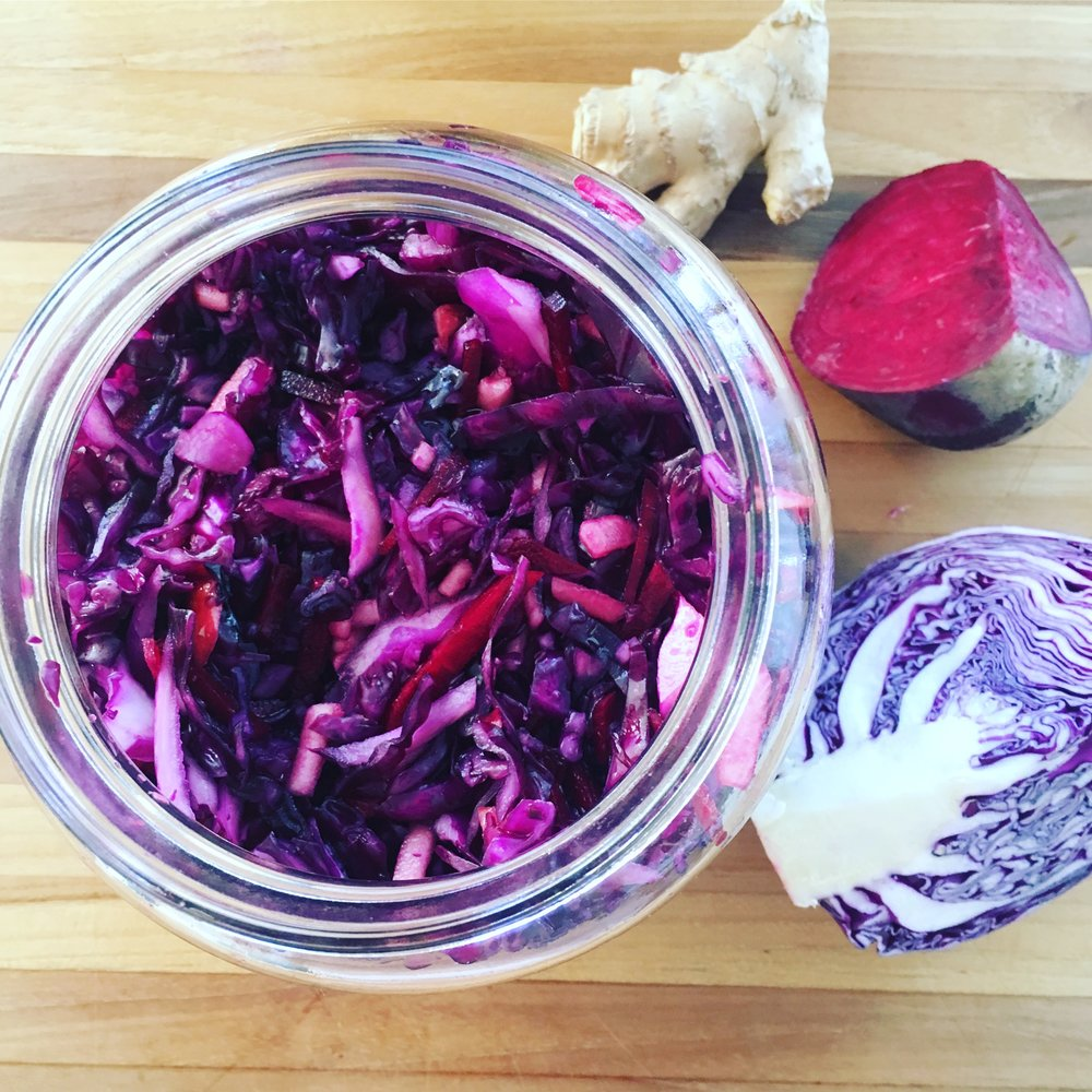 Red Kraut Packed in Fermentation Jar