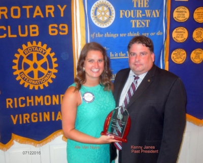 Alex van nuys received rotarian of the year award (2016) from past president kenny janes. Alex is a design consultant with Lanes Home and Remodeling in Richmond.