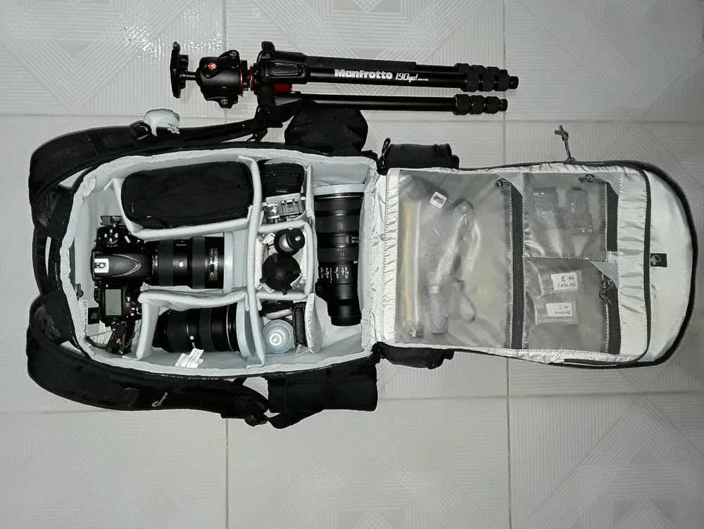 Photography gear packed.
