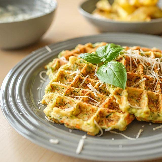 Zucchini-Parmesan Waffle 🌱 #food #waffles #discoveredandeaten
