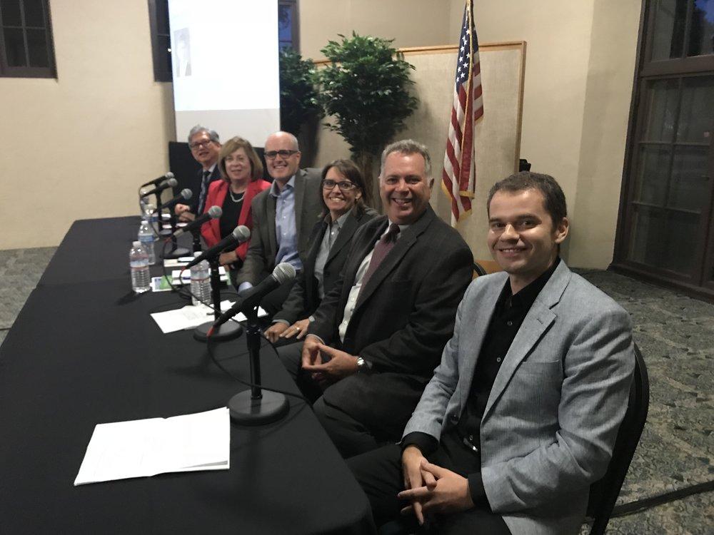 "(right to left) Slavko Vukic - LCDG; Harry Drake - Gonzalez Goodale; Betty Lynn Senes – Sundt; Joe O'Hara – CSUN; Alix O"" Brien – LAUSD; Vincent Yu – LA County."