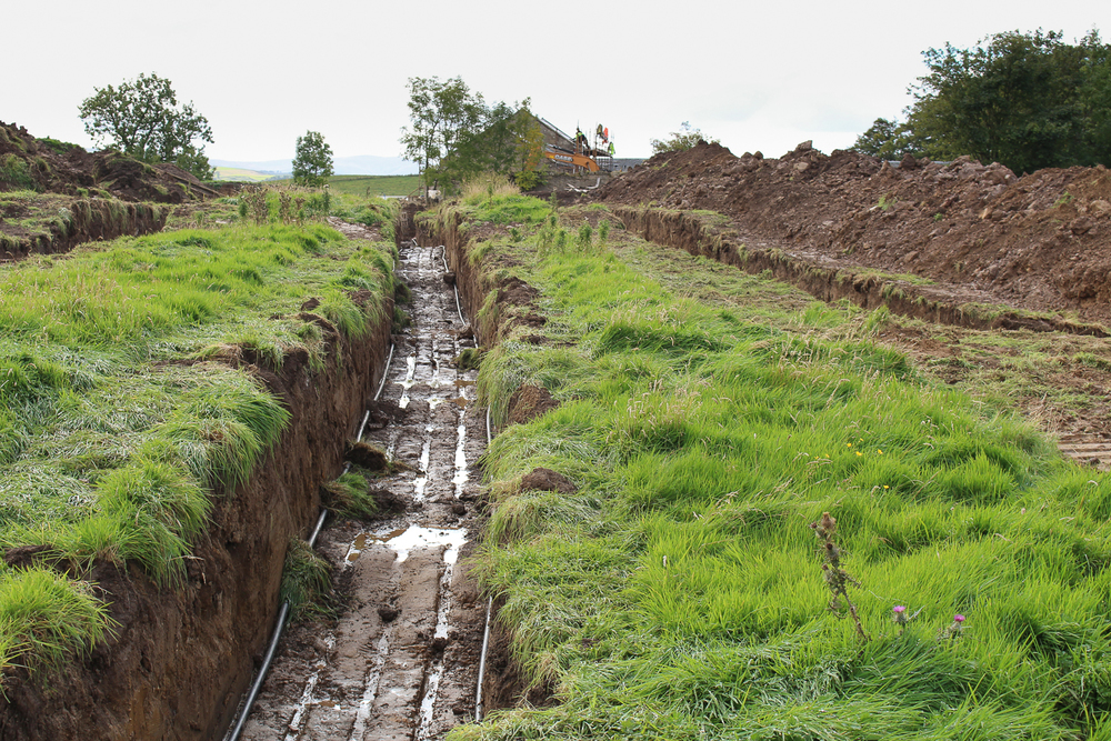 Collector pipe in a trench  Heat pumps Scotland