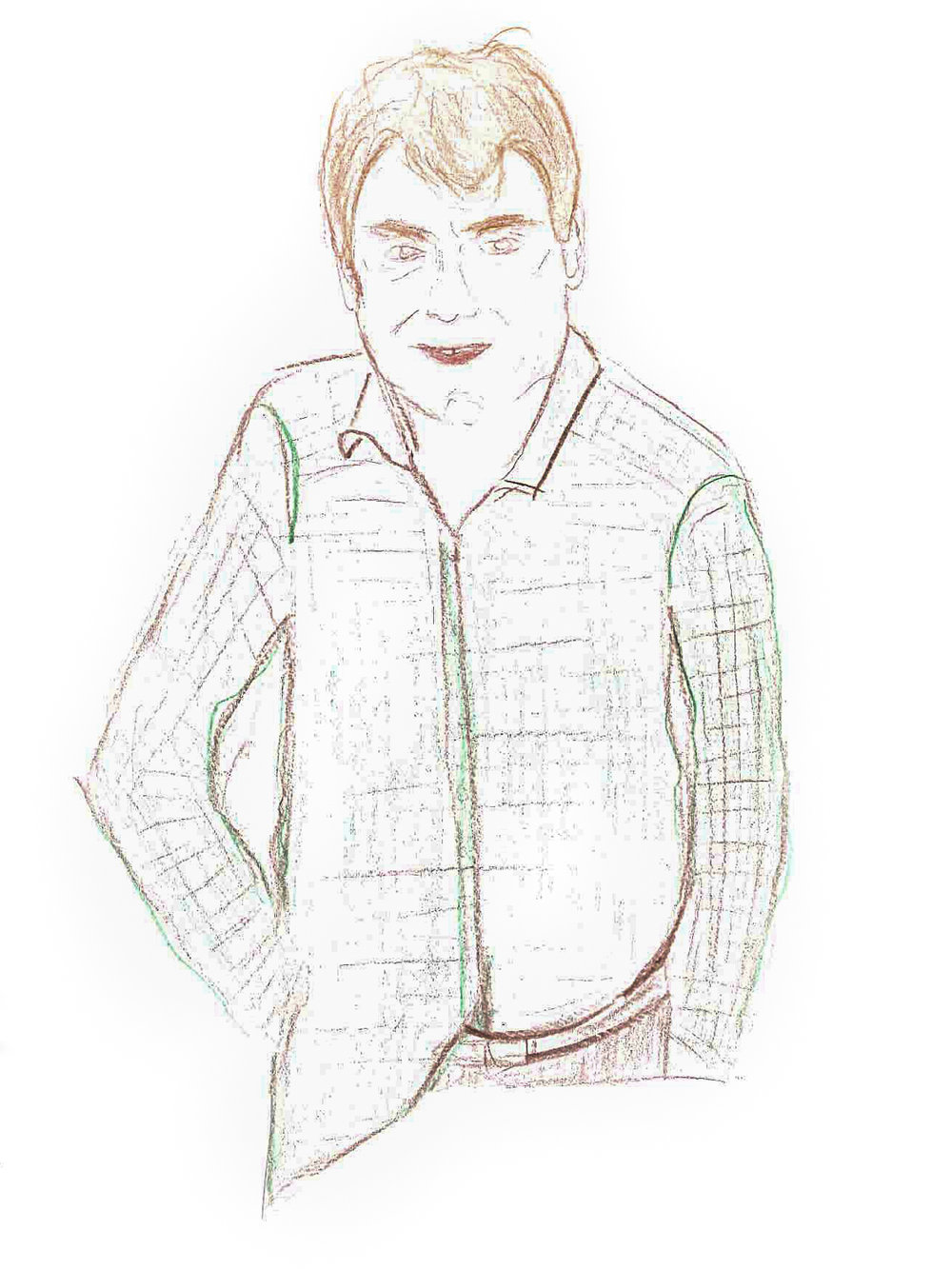 Portrait of Andrew Skirton drawn by a colleague in an earlier  staff competition