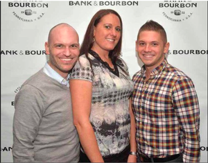 Philly.com   Bank & Bourbon Opening   Photo Credit: HughE Dillon/Philly.com    Jeffrey Cesari (left), Kristen Linehan (middle) and Rob Nonemacker (right) of Shimmer Events at the opening of Bank & Bourbon at the Loews Hotel in Philadelphia on Tuesday, April 8, 2014  April 8, 2014