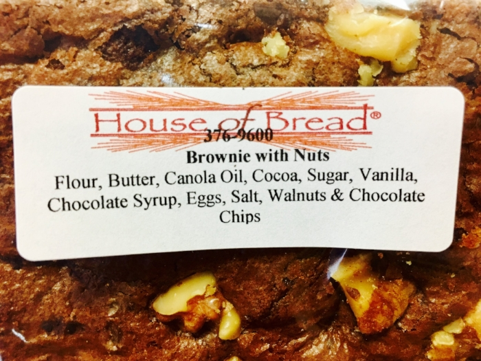 Simple ingredients, listed right on the front of our freshly wrapped brownies and bars!