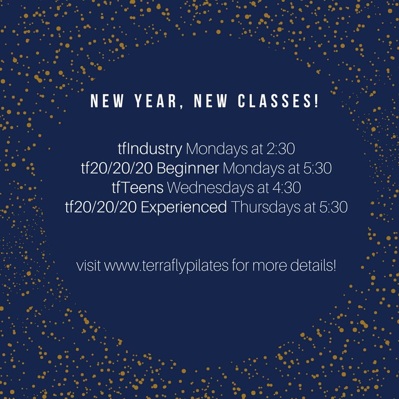 It's almost 2018 and we're celebrating with four new classes!    Industry Class:  This class is designed for our friends in the service industry - from hair stylists to waiters and waitresses. Treat yourself to a workout designed to open you shoulders, strengthen your core and help you stay on your feet all week long!    20/20/20 Beginner:  If you've never tried Pilates, this is the class for you! Get to know each piece of equipment with 20 minutes on the reformer, 20 minutes on the chair, and 20 minutes on the tower/mat.   20/20/20 Experienced:  Love our classes but want to try something new? Give this one a chance! 20 minutes on the reformer, 20 minutes on the chair, and 20 minutes on the tower/mat.   Teens:   A fun way to add to your teens active schedule, this class is great for young athletes and on-the-go teenagers.   Sign up today and we'll see you in the New Year!