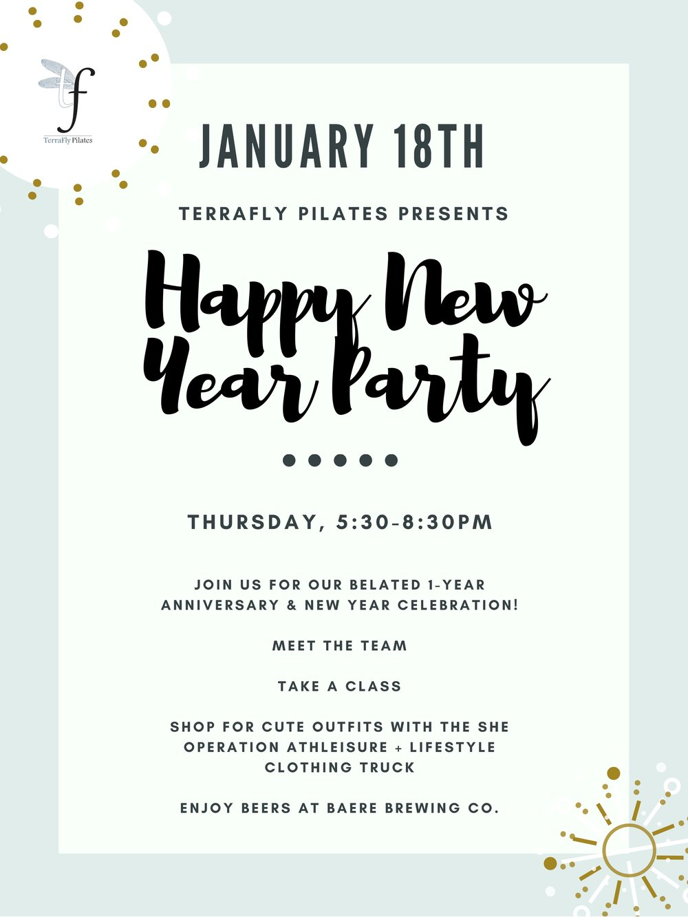 Join us on  Thursday, January 18th from 5:30-8:30pm  to celebrate our one year anniversary and the new year! We'll have equipment demos and shopping with The She Operation followed by beers at Baere Brewing Co. (one block south).   The SHE Operation is an athleisure + lifestyle boutique on wheels. SHE rolls just like you… on the go. SHE offers women's everyday casual but chic athleisure wear and lifestyle goods. Her timeless, versatile pieces are hand picked to effortlessly make you feel like the unapologetic, unstoppable SHEro that you are!