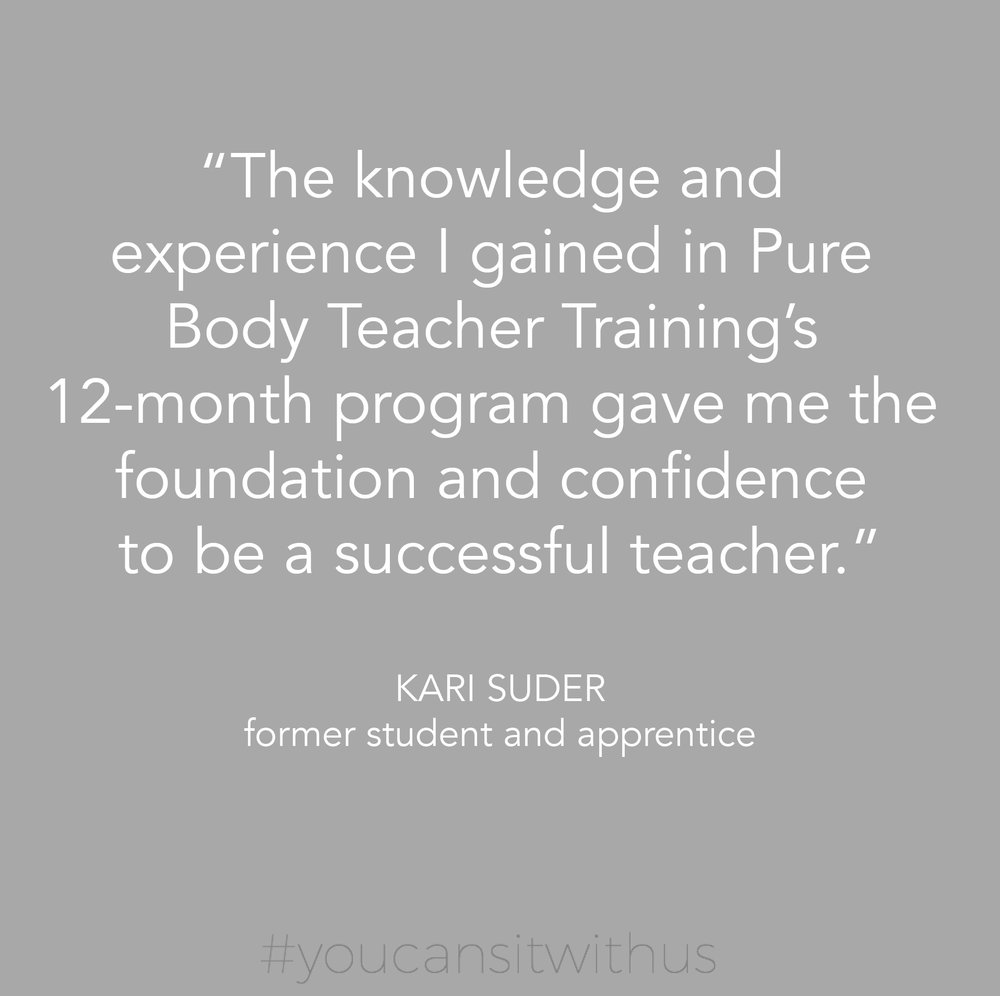 We are so excited to offer Pure Body Studio Teacher Training starting in April 2018!  The  Pure Body Teacher Training  is a comprehensive 600 hour course blending science with contemporary and classical teachings.   Join Yael at the studio on  Thursday, February 15th at 3:00  to learn more about this amazing opportunity!