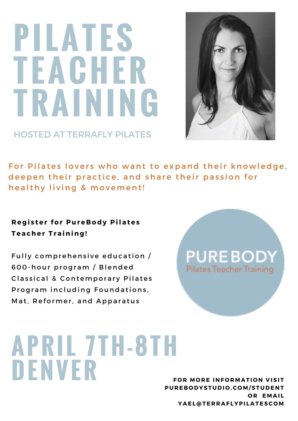 Pure Body Pilates Teacher Training  starts April 7th and we're so excited to announce that Yael will now be leading the program! It's not too late to sign up or get more information - simply email yael@terraflypilates.com. If you've ever considered becoming a teacher, now is your chance!