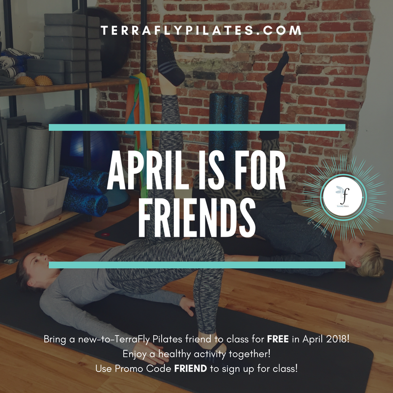 "Did you hear? Friends work out FREE in April!   Bring a  NEW -to-TerraFly friend to any class for free during the month of April.  Simply sign up for class and give your friend the promo code ""friend"" to use during check out.    The person who brings the most new friends to TerraFly in April will win a special prize pack that includes one private session, a TerraFly sweatshirt, and a two week FREE membership for the friend of their choosing! The winner will be announced May 1st.  Please email  panny@terraflypilates.com  with any questions. We can't wait to meet your friends"