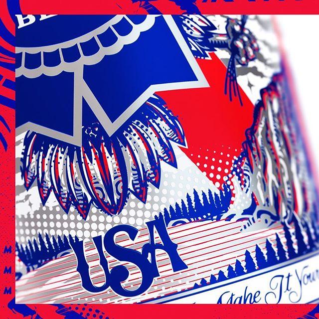 PBR 🇺🇸 . . . @pabstblueribbon #pabstblueribbon #concept #pbr #artwork #illustration #eagle #america #usa #design #designboom #designlife #designinspiration #dieline #packaging @thedesigntip @thedieline @packagingdesigninspo @packagingideas #workbytommac