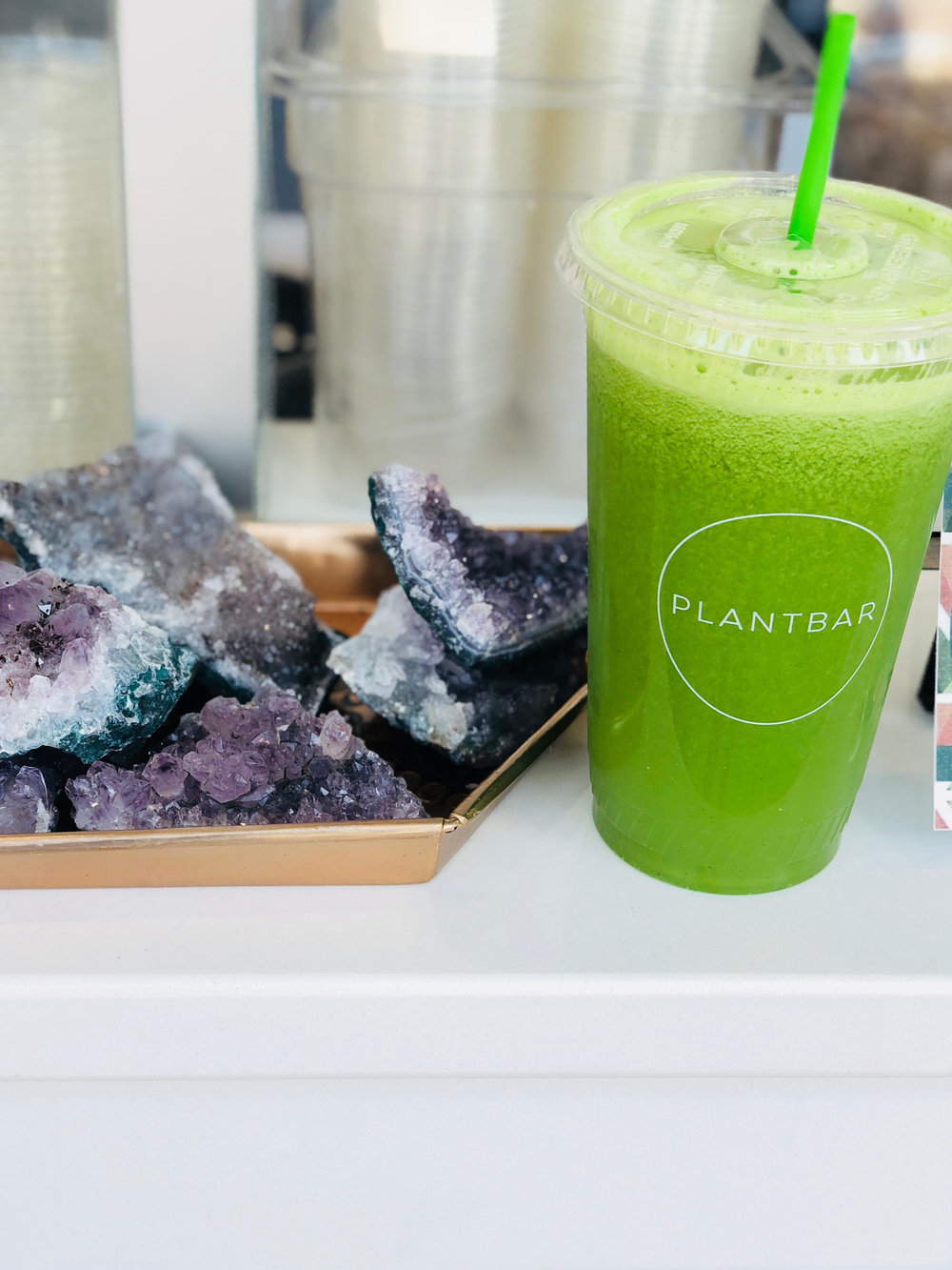 Plantbar- I got the daily greens juice and added celery juice!
