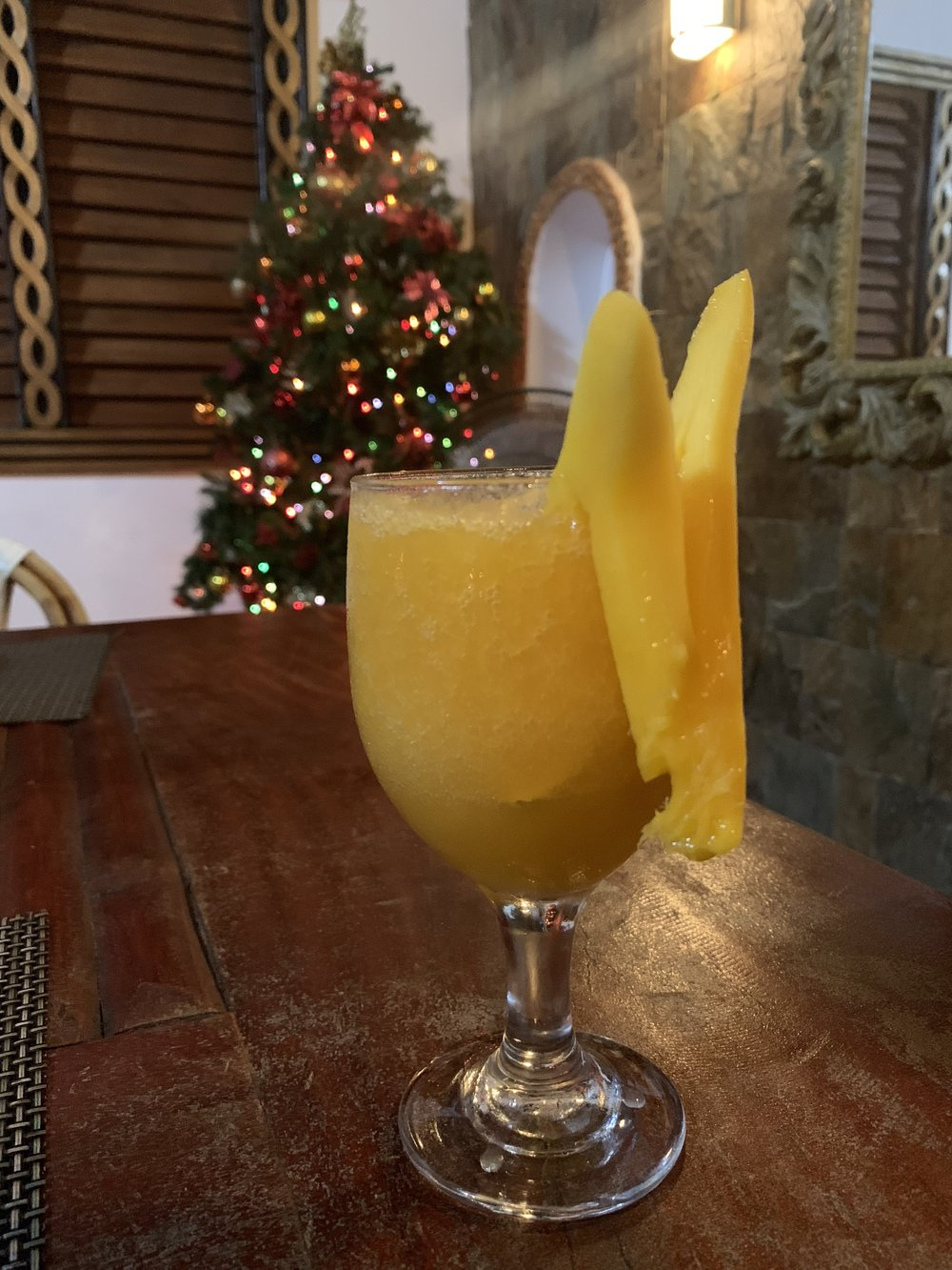 Mango Daquiri at the restaurant at Thresher Cove Dive Resort