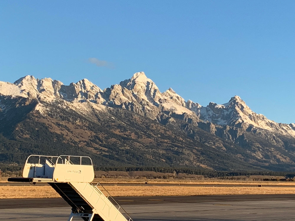 View of the tetons from the jackson airport