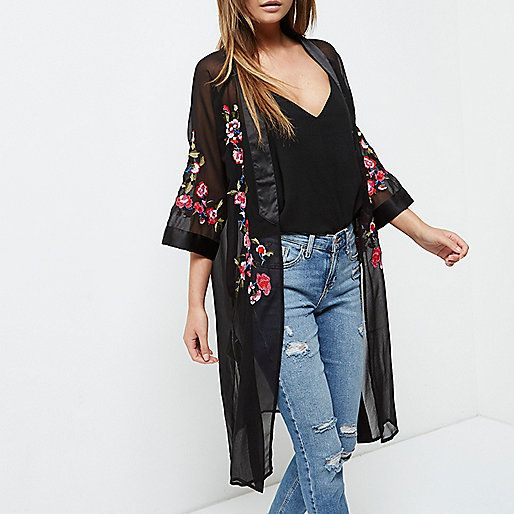 Sheer Floral Embroidered Kimono River Island £45