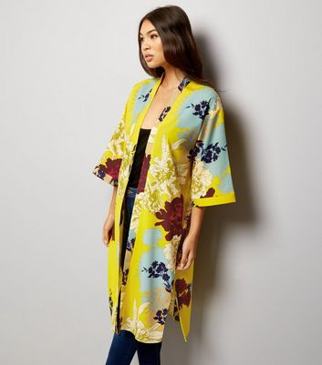 Yellow Floral Print Longline Kimono New Look £24.99