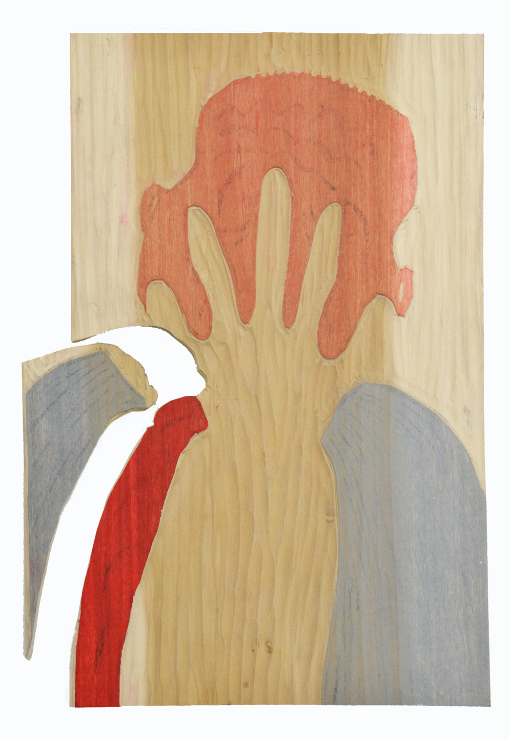 In His Face - Color Block - Poplar wood - April 2016 - ( Notice that the grey piece had to be cut away so it could be inked properly)