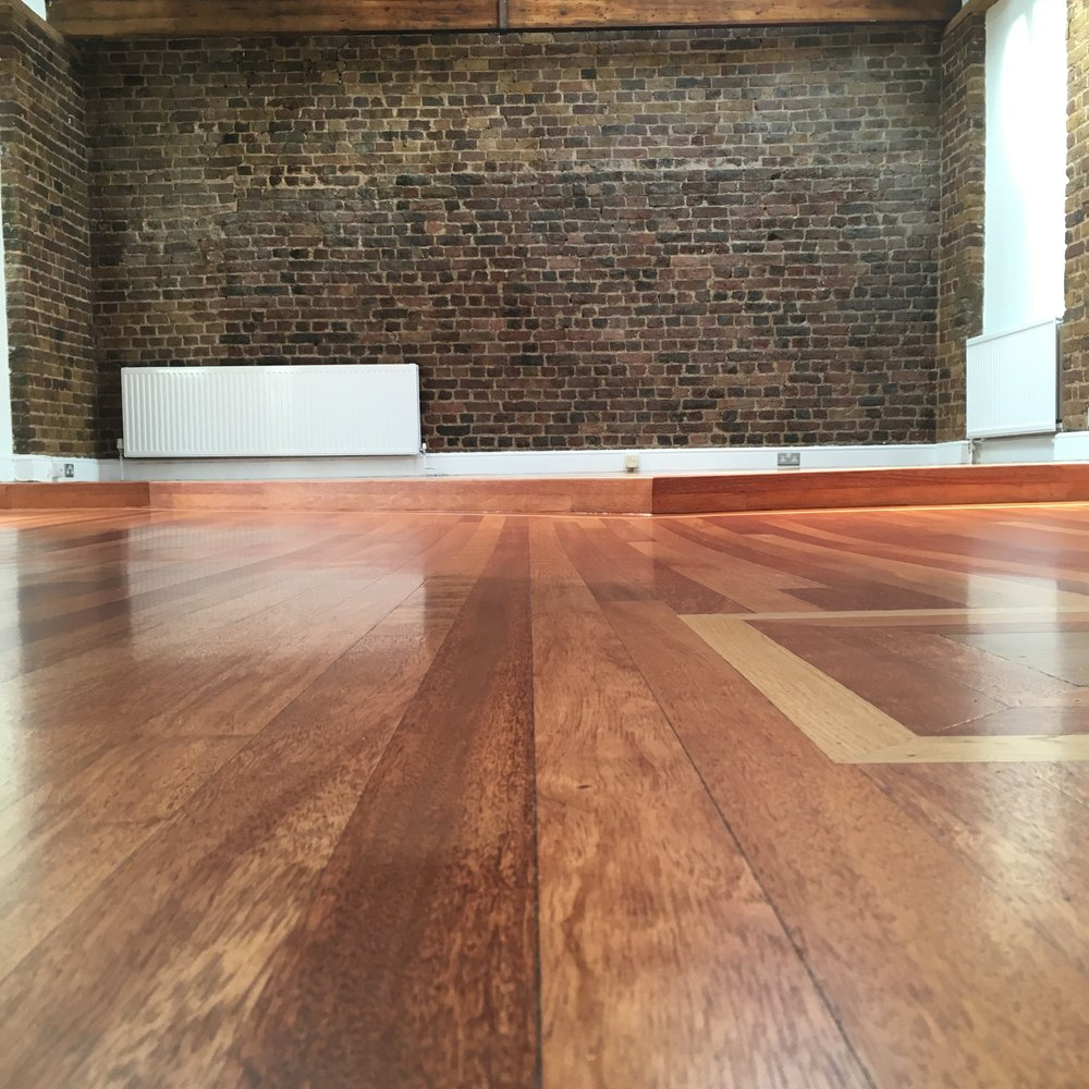 Mahogany floor finished with water based lacquer