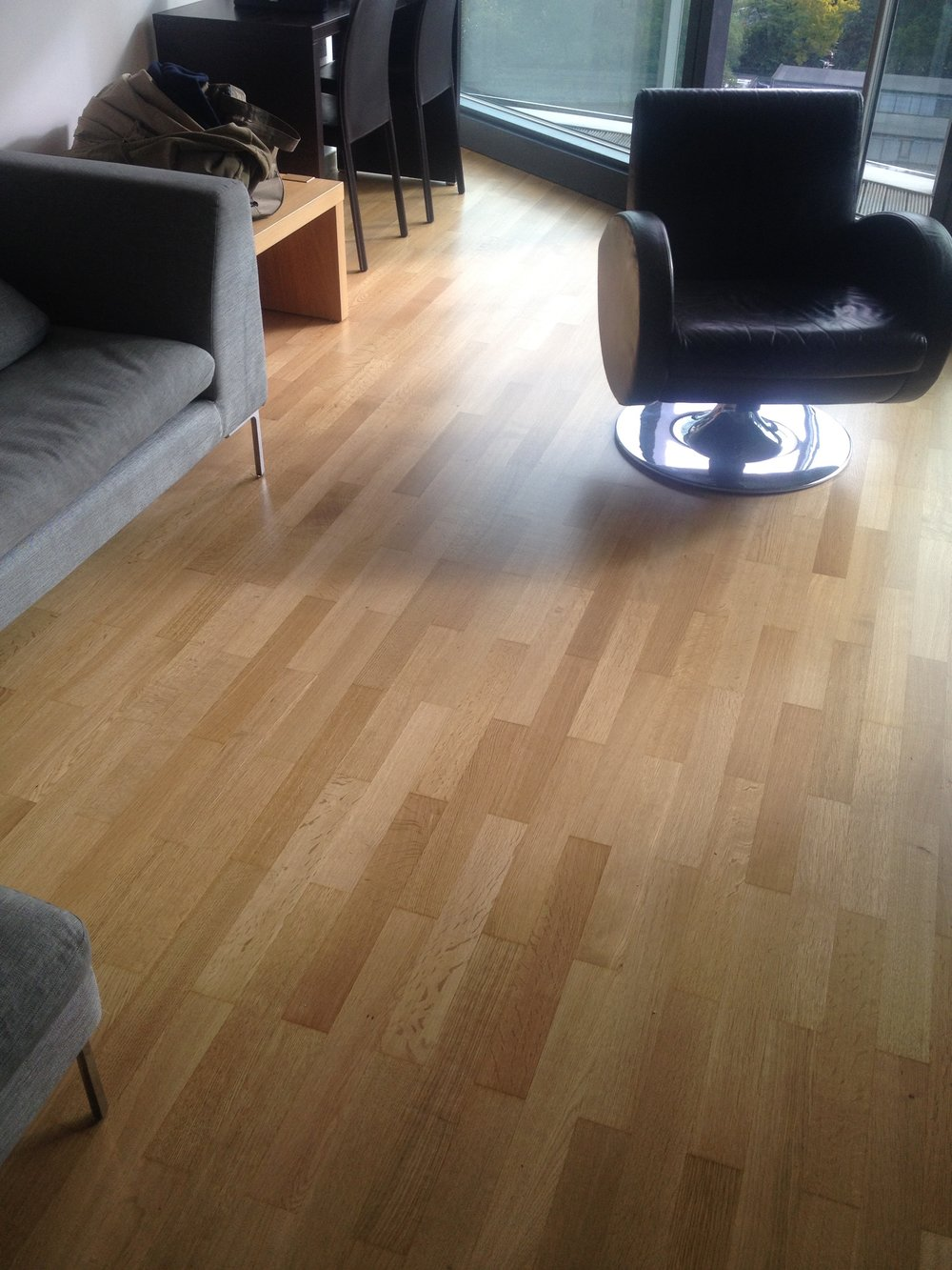 Refinished oak engineered floor.