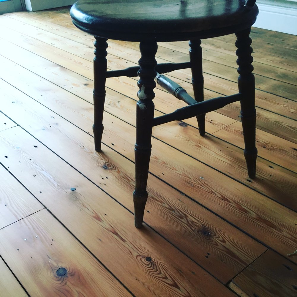 Reclaimed pine floor finished with Osmo Raw