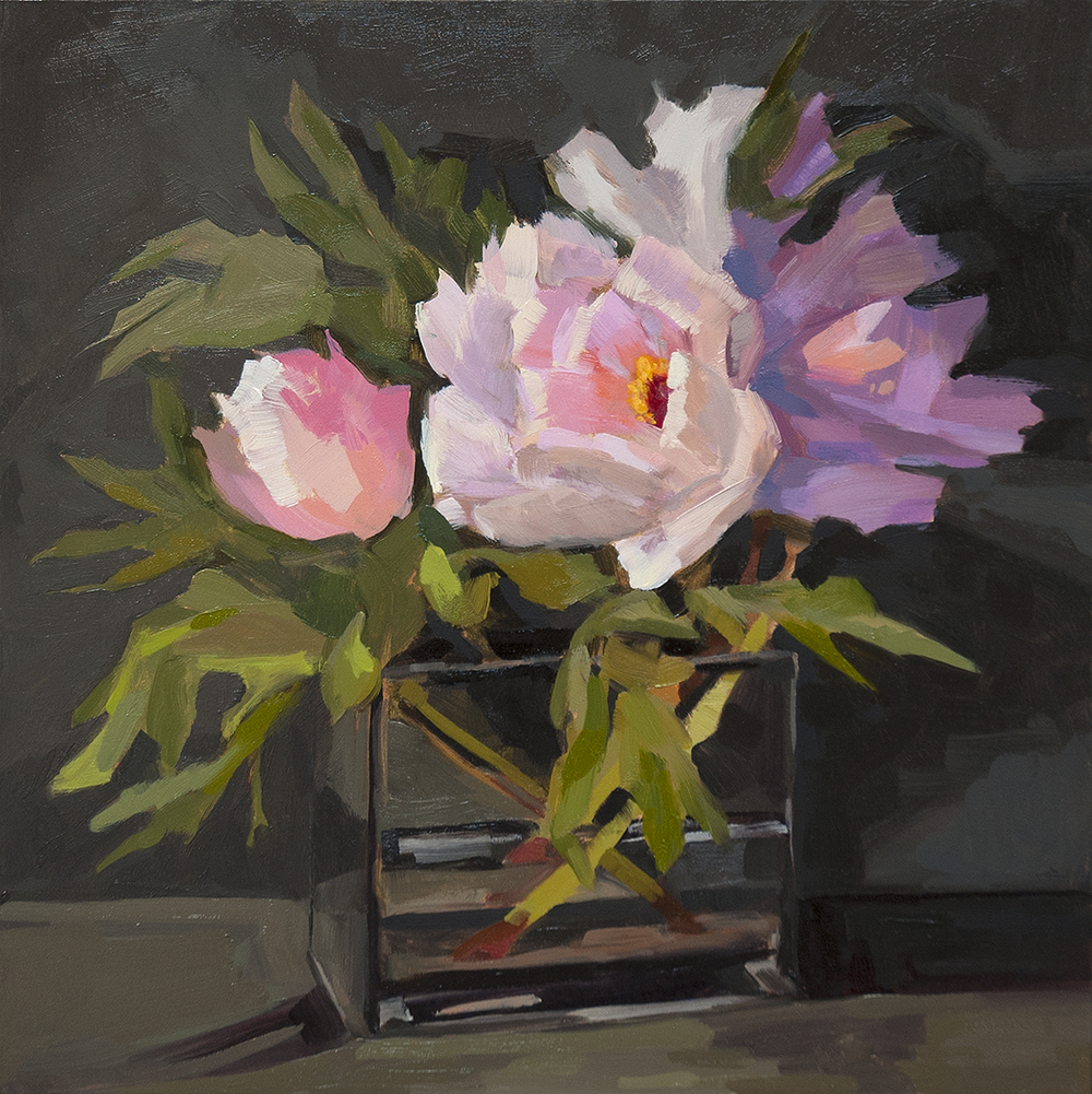 Peony, oil on board, 12x12in ©2016Miriam Hill . SOLD