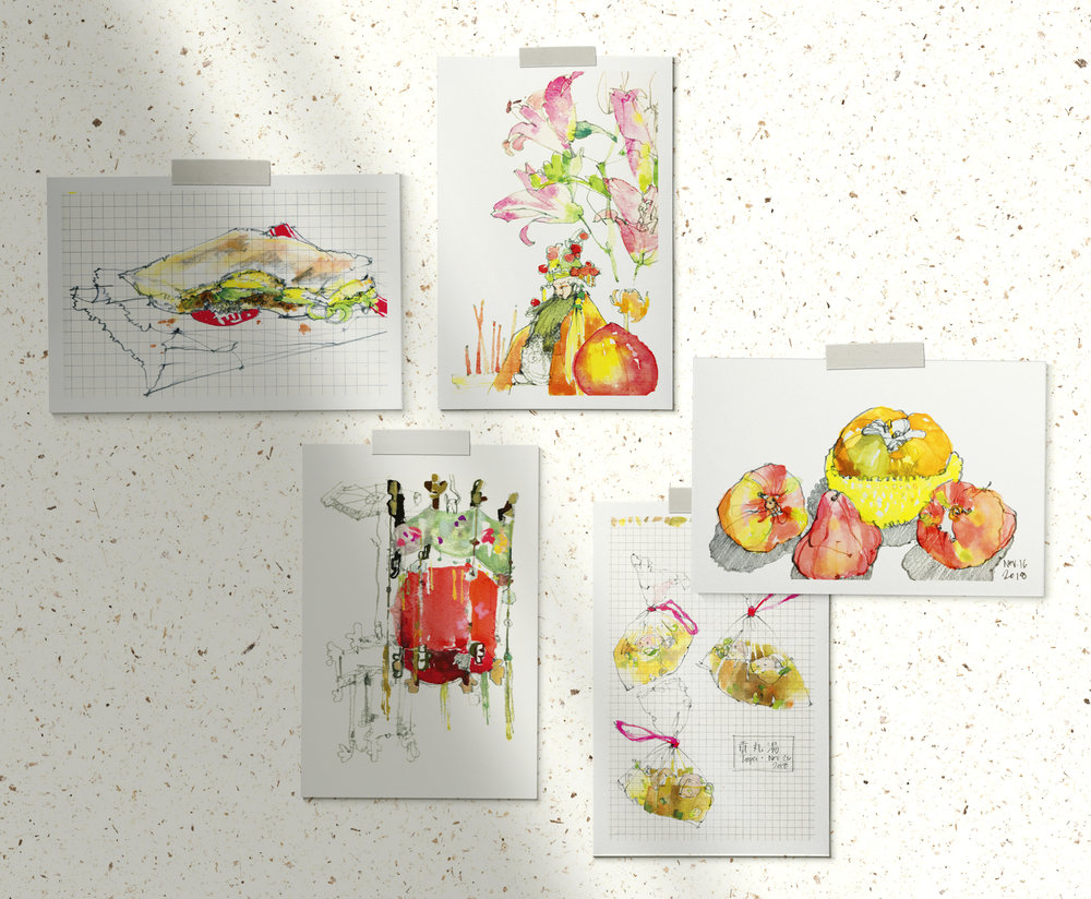 Set of 5 postcards, all images of watercolor + pencil drawings done on site in Taipei, Taiwan.