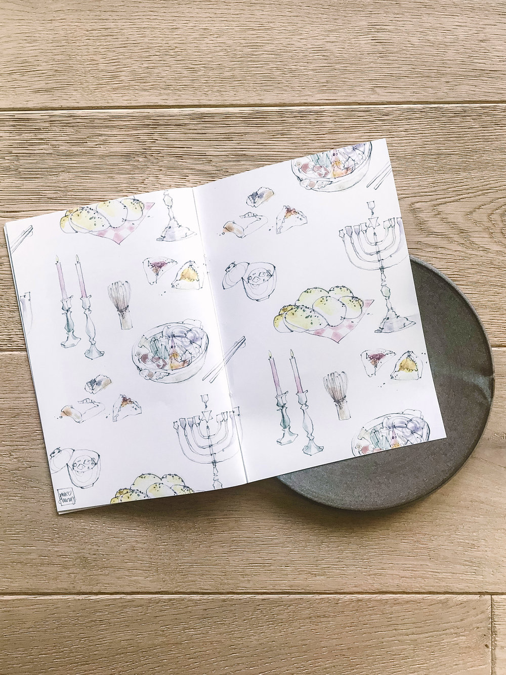 These pencil + watercolor illustrations were done in collaboration with Kristin Eriko Posner of Nourish Co., featuring food and ritual items for their mini cookbook of easy, everyday recipes that blend Japanese and Jewish cuisines.