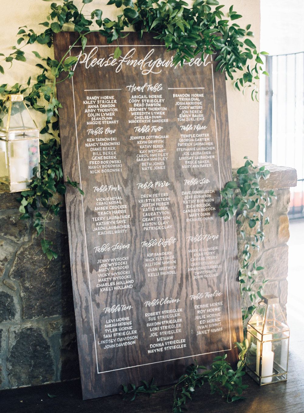 Wood :: One of our most popular items, a 6'x3' wooden board is sanded, stained, and hand-written with your table assignments. Time consuming with no room for error, these boards are one of a kind pieces of art and pricing reflects that. Photo :: Mint Photography | Planning :: Bird Dog Wedding