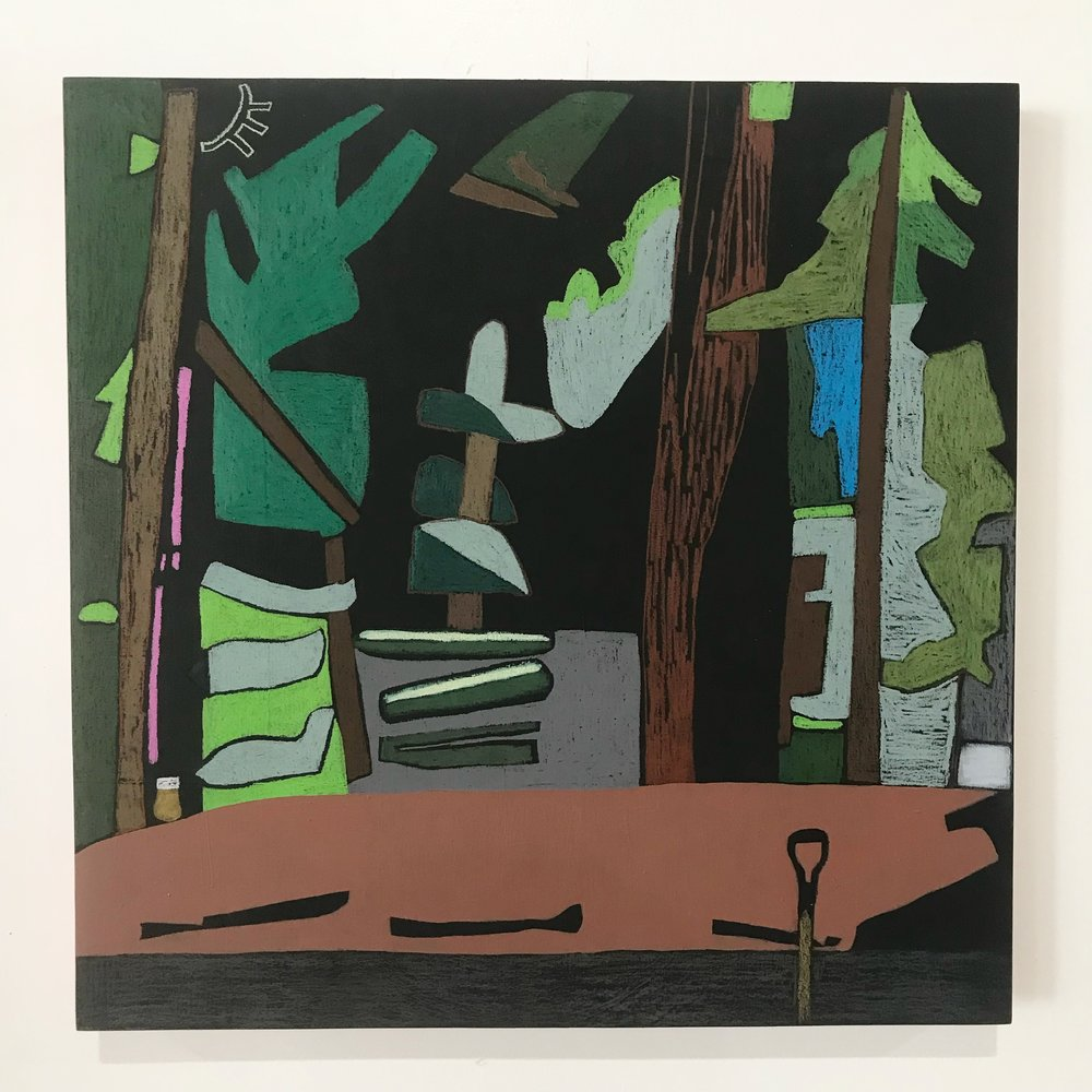 "Camp near Big Lake   Colored pencil, acrylic paint and black gesso on panel  18"" x 18""  2018"
