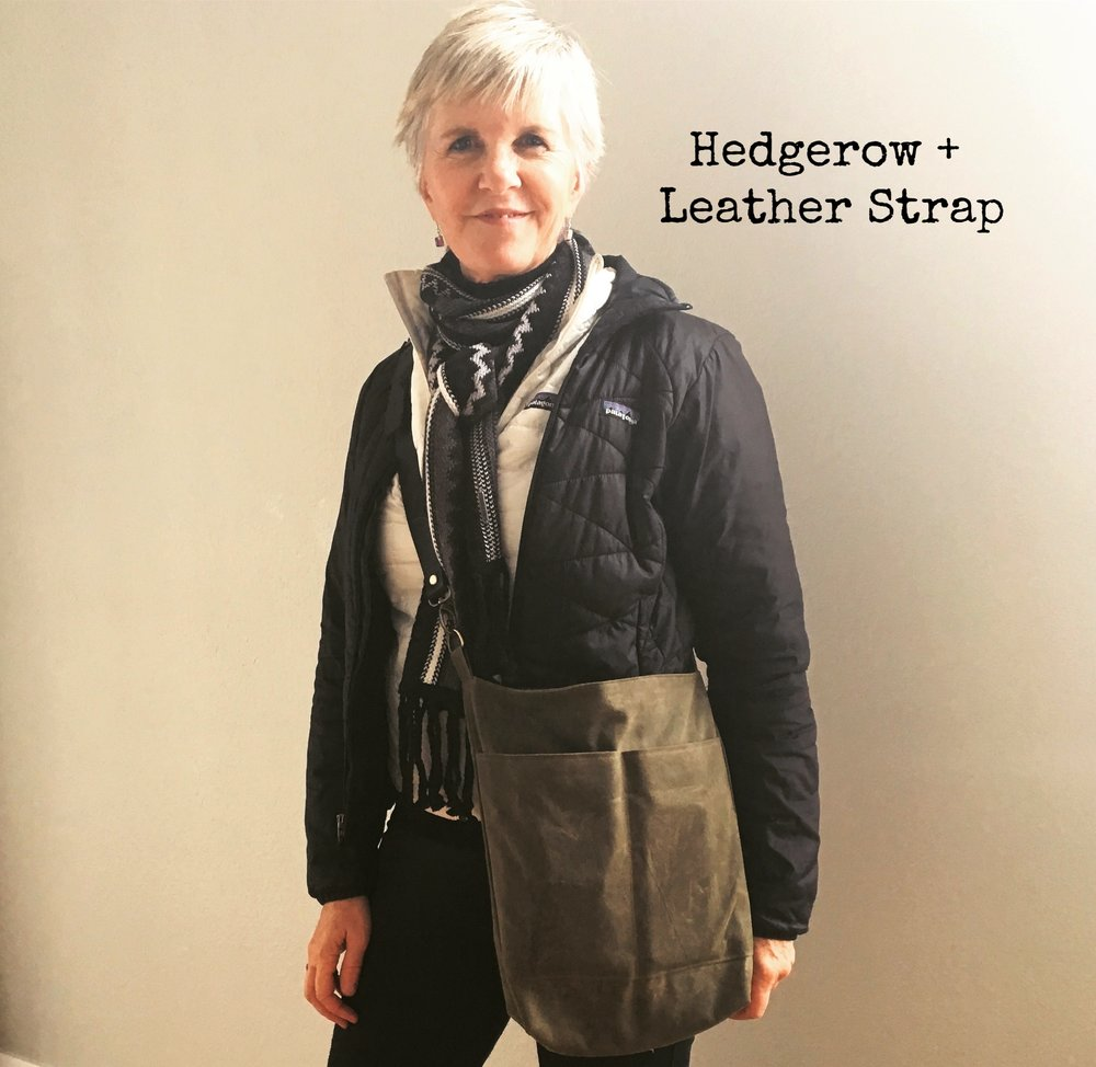 Here is my Aunt Sara modeling her custom-made Hedgerow Book Bag with a Leather Strap