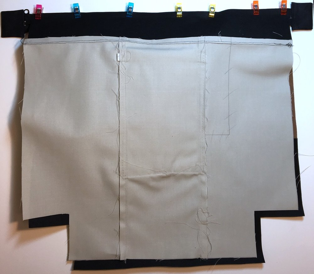 Lay lining on top, right sides together, and secure with clips
