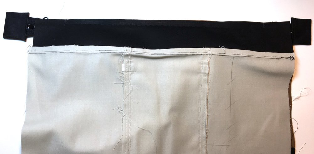 """Sew on zipper between the 2"""" marks"""