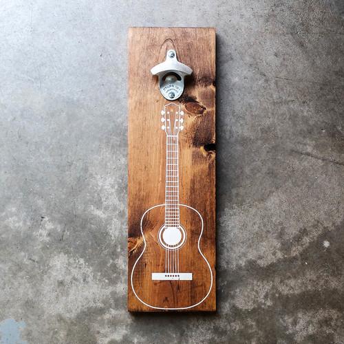 wood wall mount beer bottle opener acoustic guitar in white
