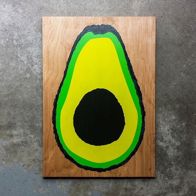 """4 color avocado screen prints are fresh up on our website. Limited run of 50 prints. Original artwork and hand screen printed on 20"""" x 14"""" birch. We'll be adding limited runs of other original wood screen prints to our store, so if you like what you see, keep your eyes peeled.  #avocado #art #screenprinting #screenprint #woodworking #woodart #wallart"""