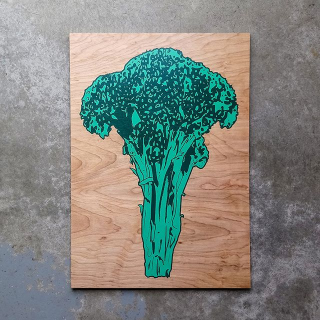 """Broccoli 2 color screen prints served up fresh on our website. Limited run of 50 prints. Original artwork and hand screen printed on 20"""" x 14"""" birch. We'll be adding limited runs of other original wood screen prints to our store, so if you like what you see, keep your eyes peeled.  #broccoli #art #screenprinting #screenprint #woodworking #woodart #wallart"""
