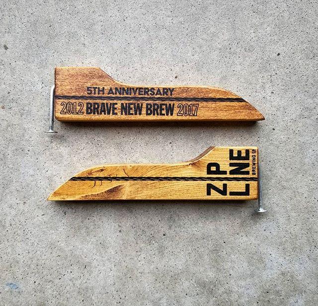 Got to make a bunch of these sweet handheld nail bottle openers for @ziplinebrewing Cheers to 5 years boys!  #handmadegoods #bottleopener #beer #craftbeer #brewery #drinklocal