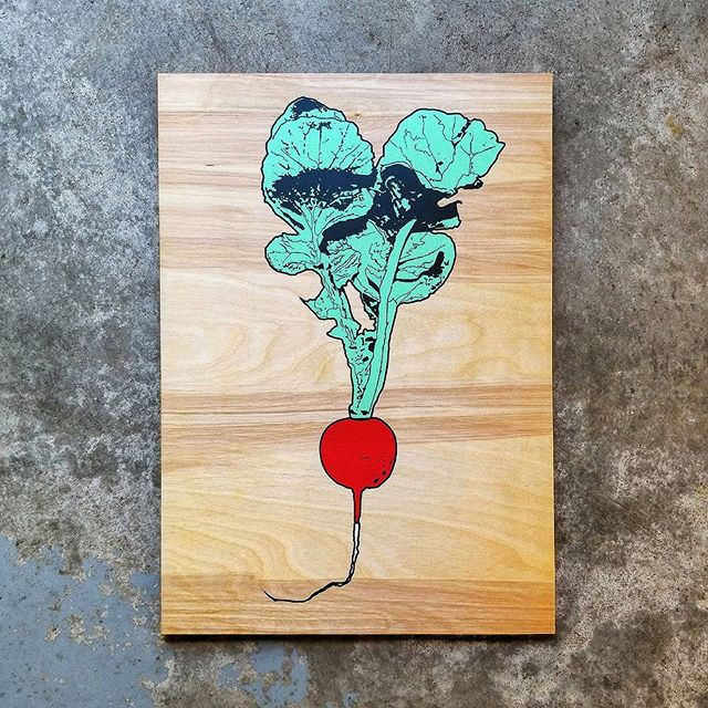 Limited edition original 4 color radish screen prints are now available on our website! 14 x 20 limited run of 50  #screenprints #wallart #radish #print #art #artprint #wood #woodprint