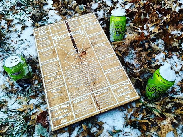 Perfect way to pass the time with friends when the roads are icy and the snow is falling. #beeropoly #firesidegoods #handmadegoods #drinkinggames @uncommongoods @boulevard_beer