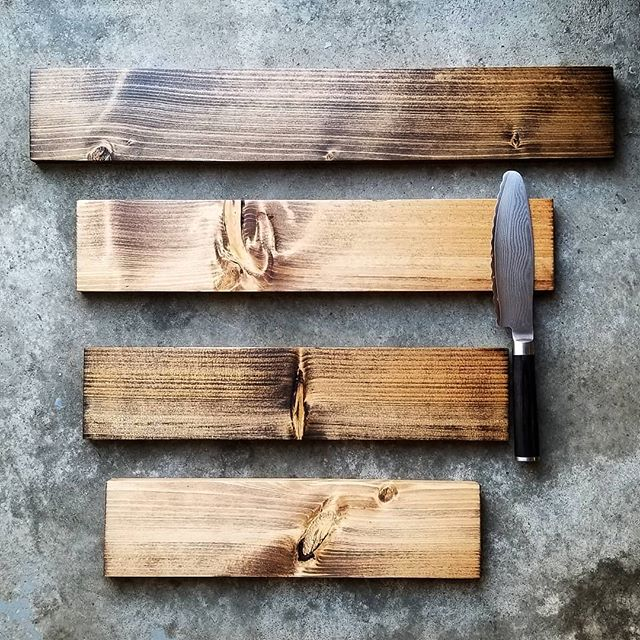 "Knife racks of all sizes shipping out to their new homes today. Bottom 14"" to top 22""  #kniferack #handmadegoods #woodkniferack #knives #magnetickniferack"