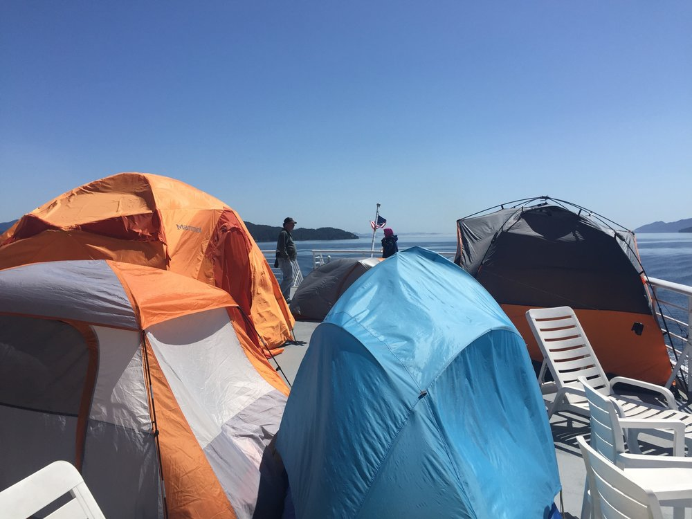 Tenting on the deck of the ferry to Alaska