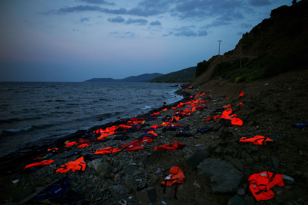 Life Jackets on the shore of Greece, 2015;   photo from Al Jazeera America