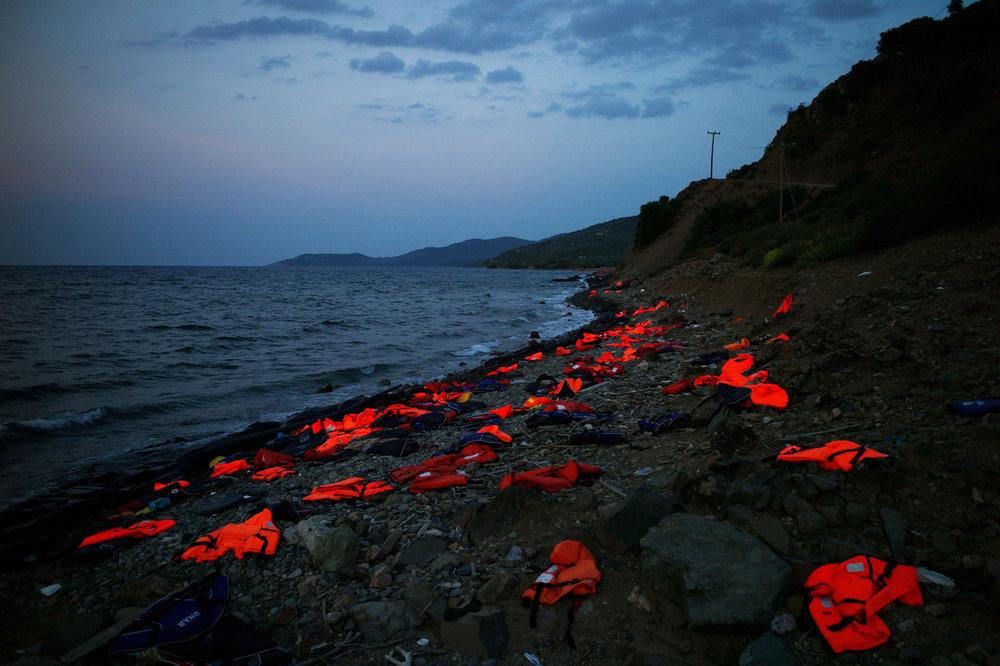Life Jackets on the shore of Greece, 2015;  photo from Al Jazeera America